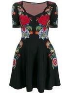 Alexander McQueen - Black Floral Jacquard Knit Mini Dress
