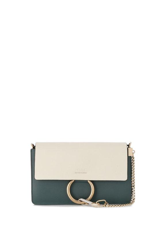 Chloé Faye White & Blue Tri-Color Small Shoulder Bag