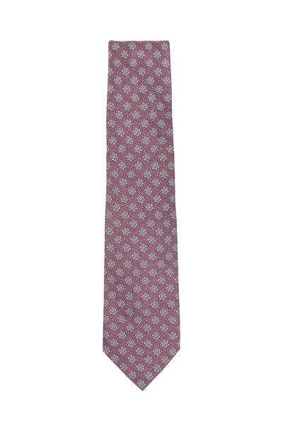 Isaia - Pink & Gray Floral Silk Necktie