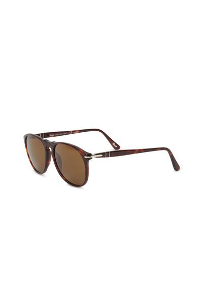 Persol - PO9649S Havana Suprema Round Polarized Sunglasses