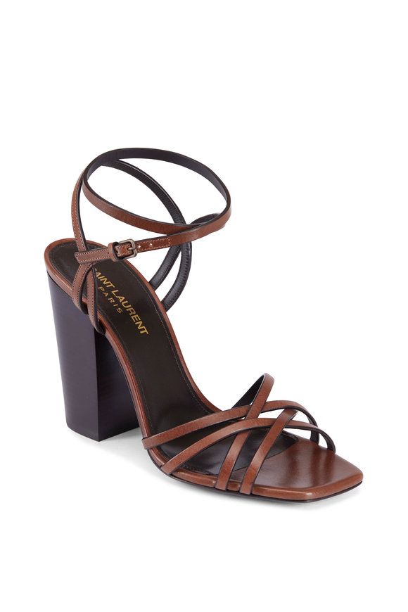 Saint Laurent Jodie Tan Leather Ankle Strap Sandal, 100mm