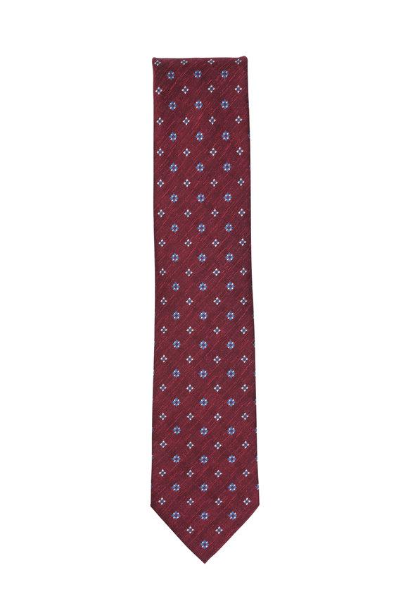 Brioni Red & Blue Floral Silk & Linen Necktie