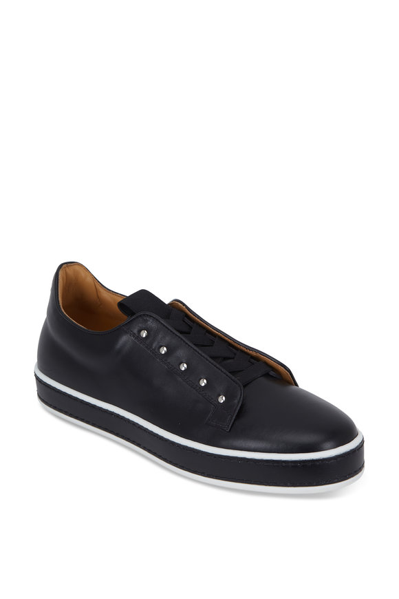 Grey New York Grey New England Litchfield Black Leather Slip-On Sneaker
