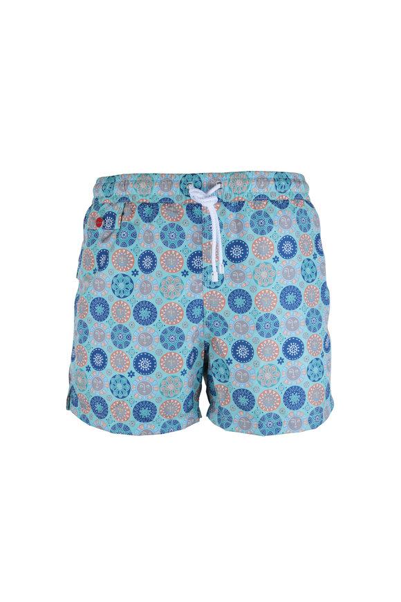 Kiton Teal & Navy Blue Geometric Print Swim Trunks