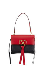Valentino Garavani - VRing Black & Red Leather Medium Shoulder Bag