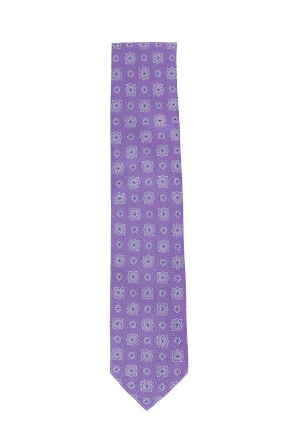 Eton Lavender Floral Medallion Silk Necktie