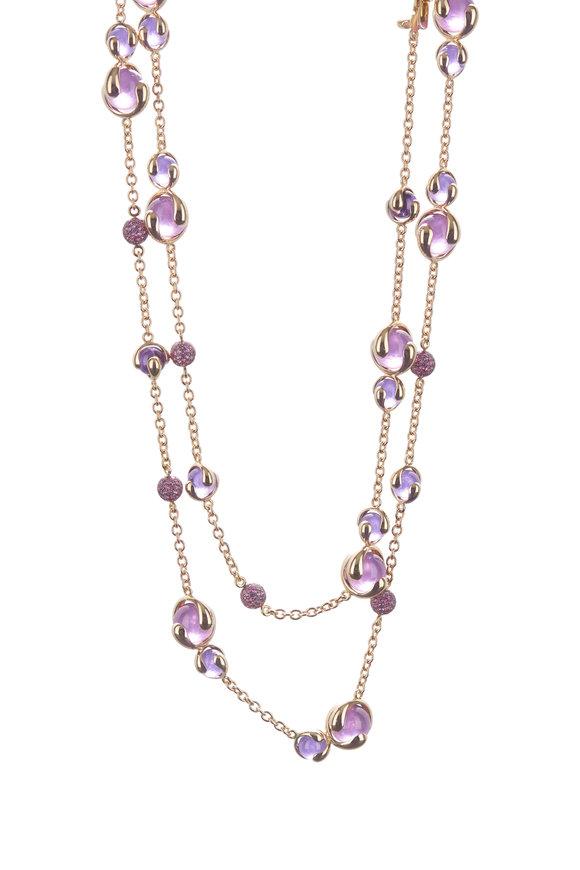 Marina B 18K Yellow Pink Sapphire Pavé Necklace