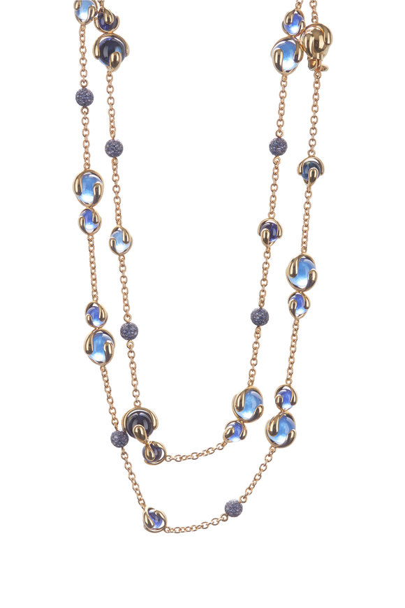 Marina B 18K Yellow Gold Cardan Sapphire Pavé Necklace