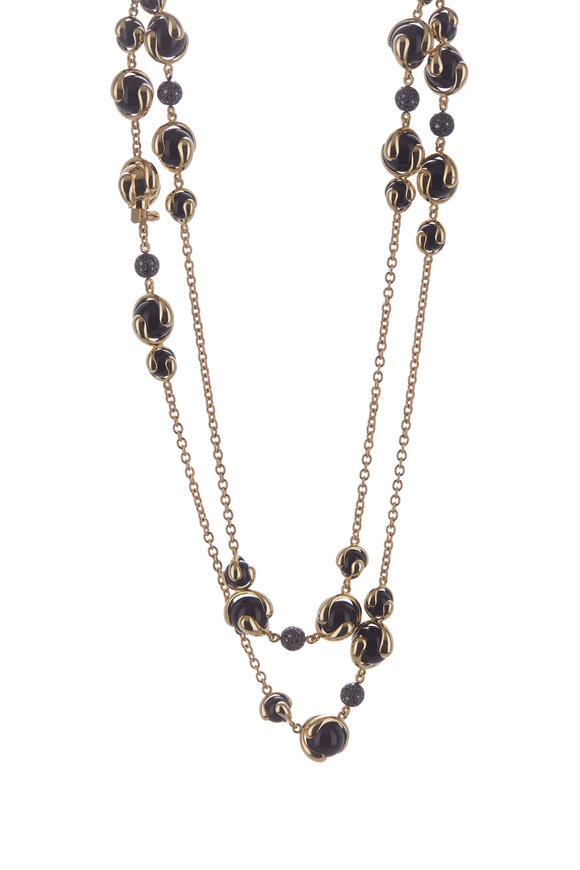 Marina B 18K Yellow Gold Cardan Black Onyx Cluster Necklace