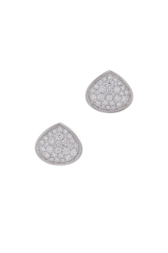 Marina B 18K White Gold Trisola Round Diamond Earrings