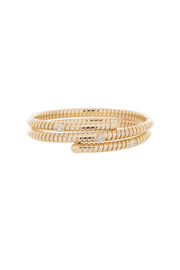 Marina B 18K Yellow Gold Trisolina Triple Diamond Bangle