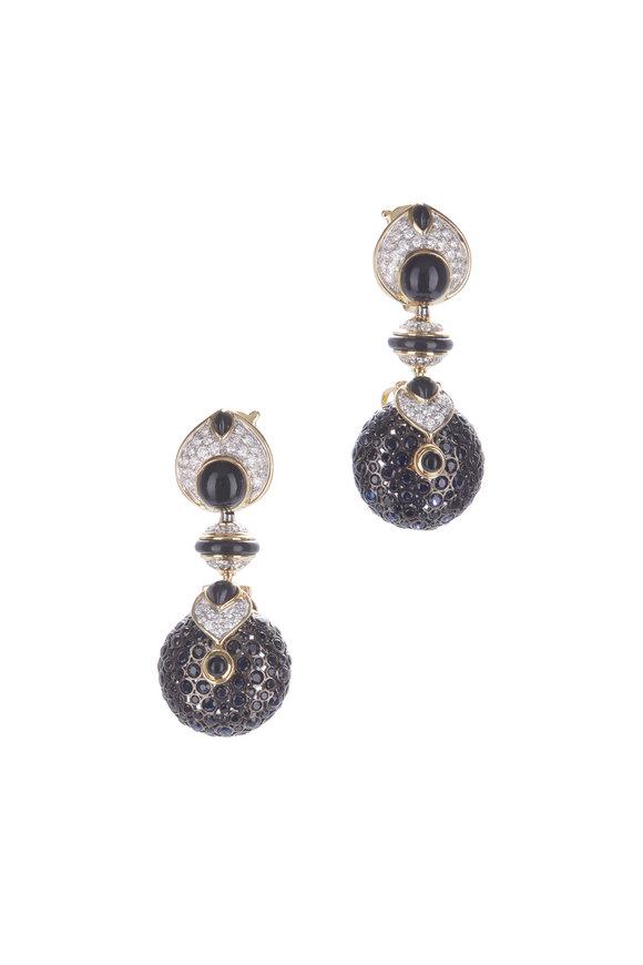 Marina B 18K Yellow Gold Pneu Black Jade Earrings