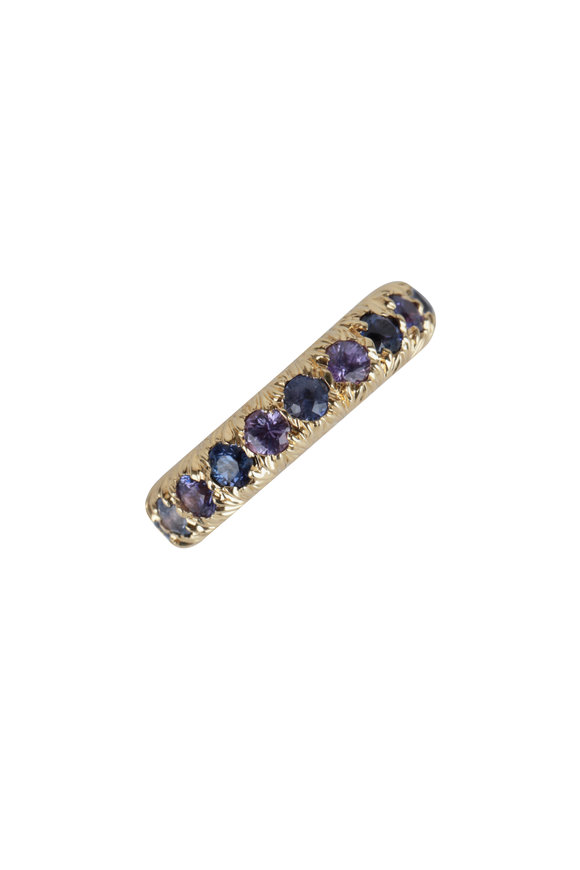 Aaron Henry 19K Yellow Gold Violet Sapphire Eternity Band