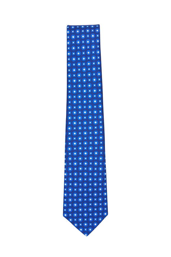 Kiton Blue Geometric Silk Necktie