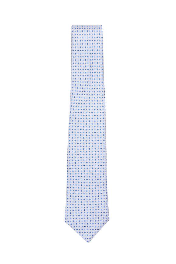 Kiton Blue Diamond Print Silk Necktie