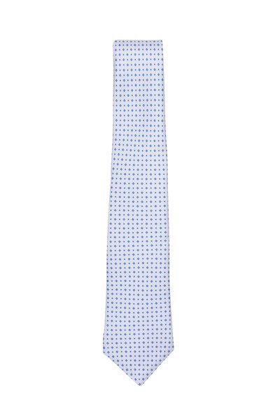 Kiton - Blue Diamond Print Silk Necktie
