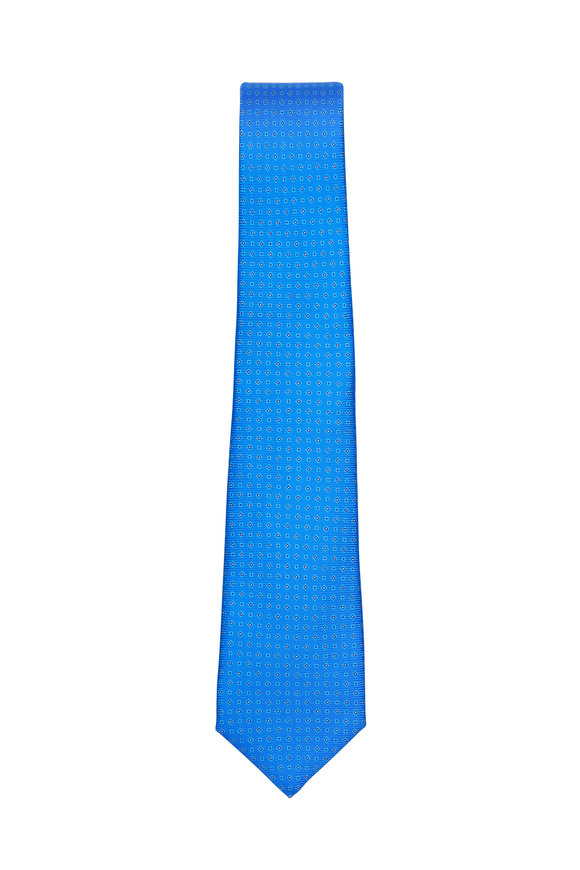 Kiton Dark Blue Diamond Print Silk Necktie