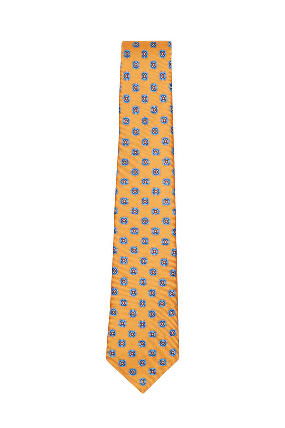 Kiton Orange & Multicolor Geometric Silk Necktie