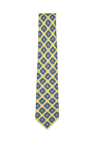 Kiton - Yellow & Blue Geometric Necktie