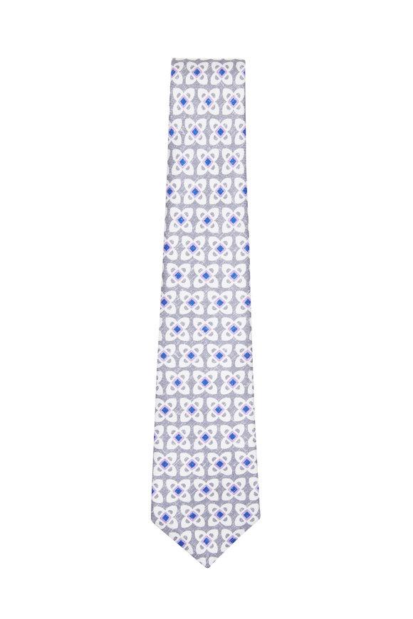 Kiton Purple & Grey Geometric Silk Necktie