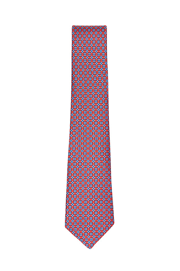Kiton Red & Blue Geometric Silk Necktie