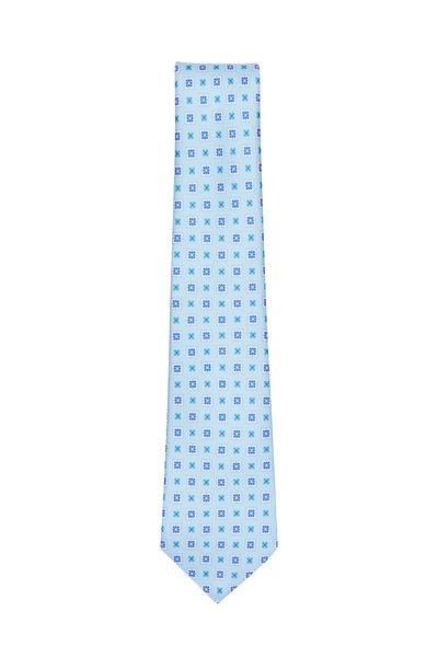 Kiton - Sky Blue Geometric Silk Necktie