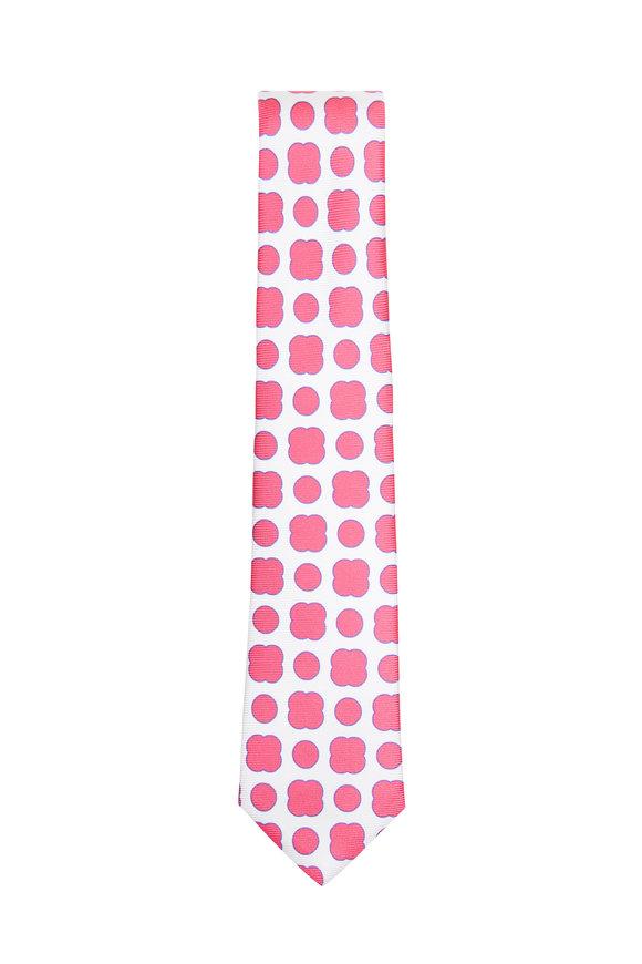 Kiton Pink & White Geometric Silk Necktie