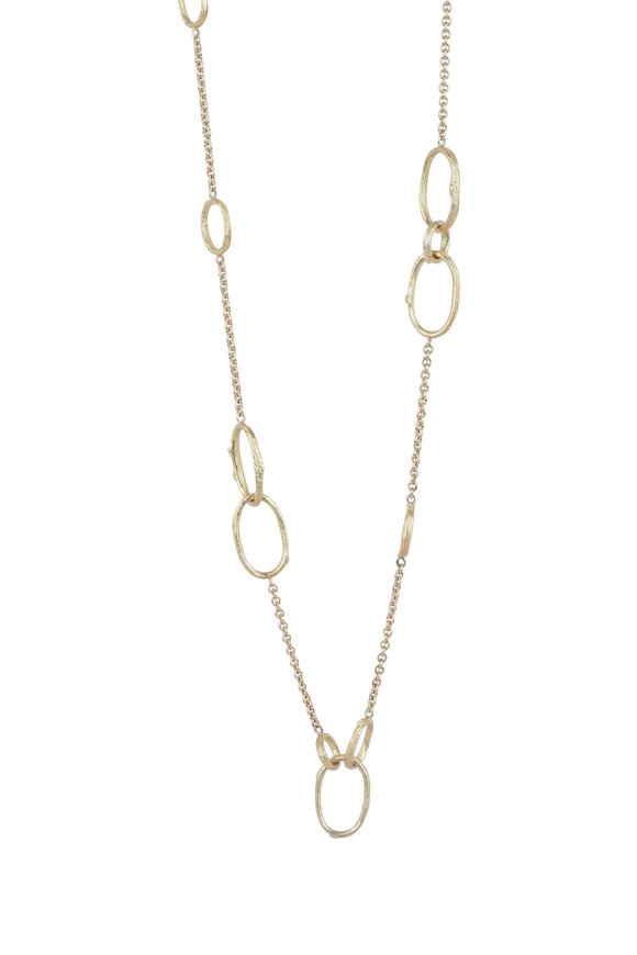Aaron Henry 18K Yellow Gold Open Olive Branch Link Necklace