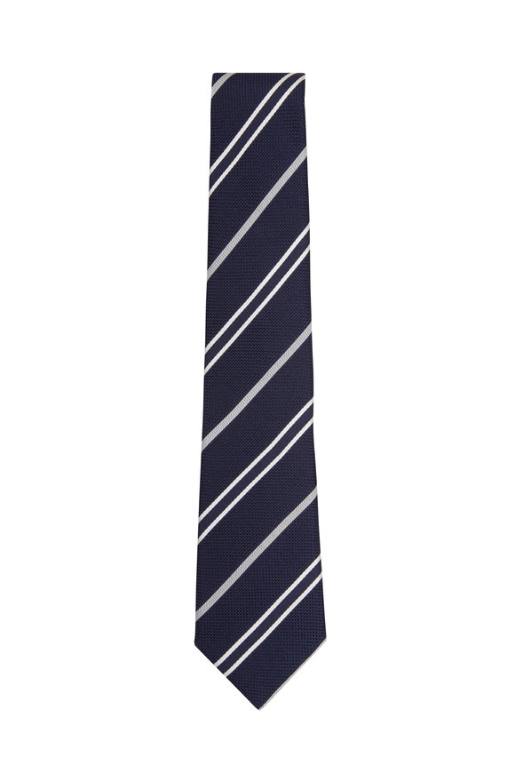 Paolo Albizzati Navy Grenadine Striped Silk Necktie