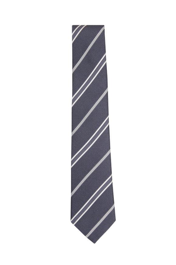 Paolo Albizzati Grey Grenadine Striped Silk Necktie