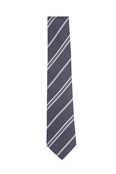 Paolo Albizzati - Grey Grenadine Striped Silk Necktie