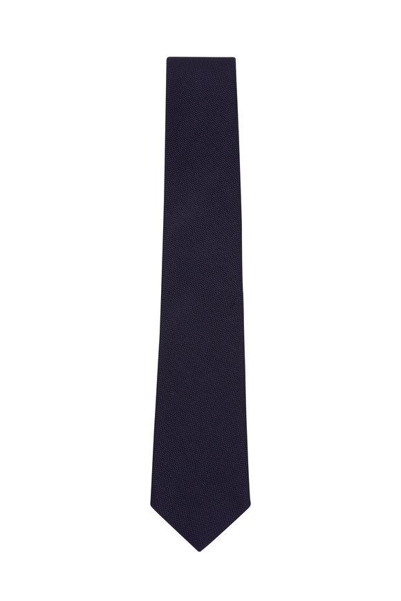 Paolo Albizzati Solid Navy Silk Necktie
