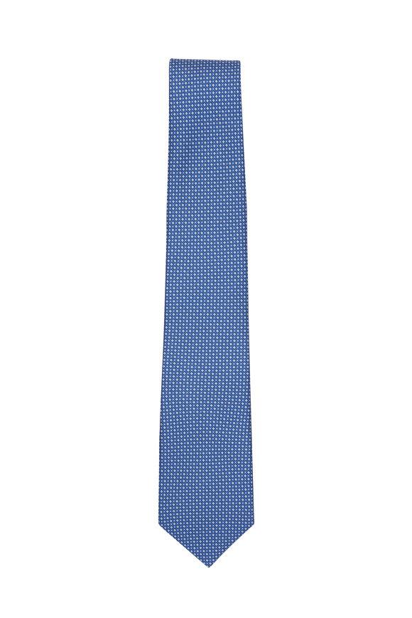 Paolo Albizzati Blue Micro Dot Pattern Silk Necktie