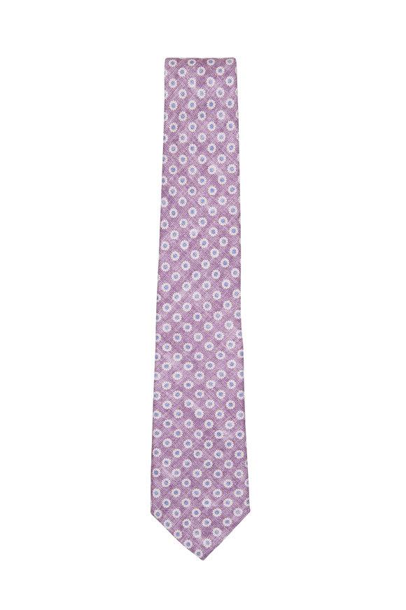 Paolo Albizzati Purple Printed Flower Necktie
