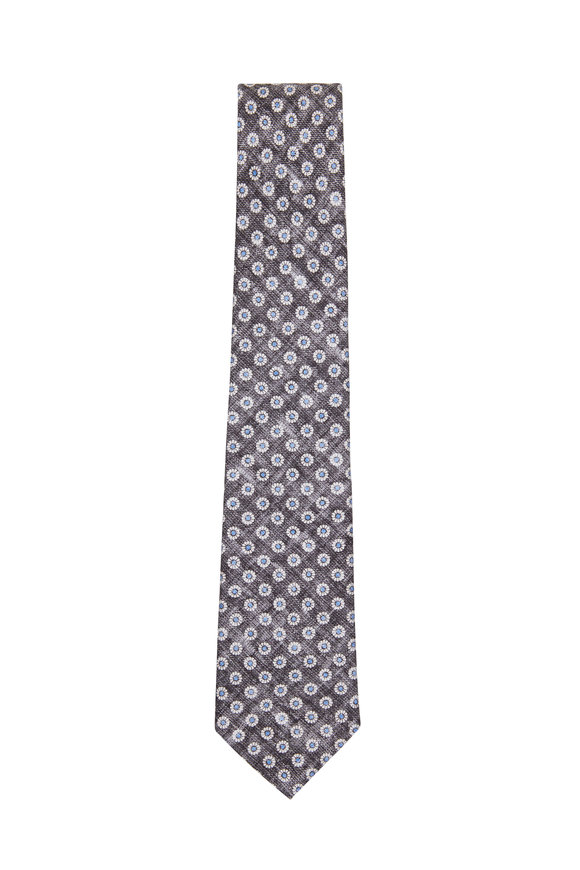 Paolo Albizzati Charcoal Grey Printed Flower Necktie
