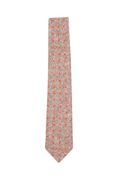 Paolo Albizzati - Tan & Orange Floral Linen Necktie