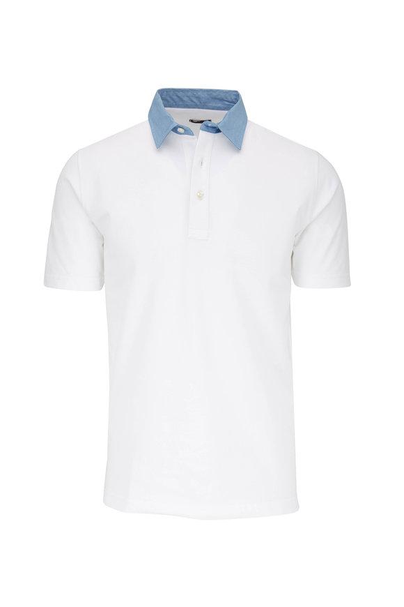 Eddy Monetti White With Contrast Blue Collar Polo