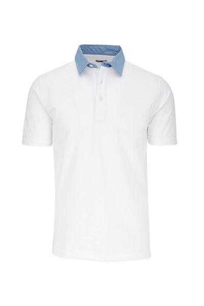 Eddy Monetti - White With Contrast Blue Collar Polo