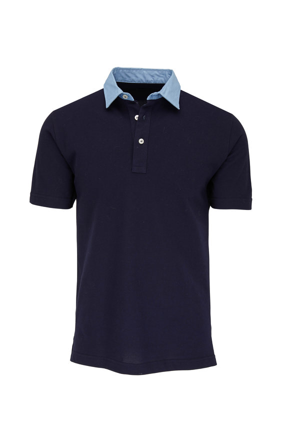 Eddy Monetti Navy Blue Contrast Denim Collar Polo