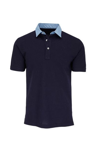 Eddy Monetti - Navy Blue Contrast Denim Collar Polo