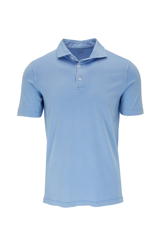 Fedeli Frosted Blue Cotton Jersey Polo