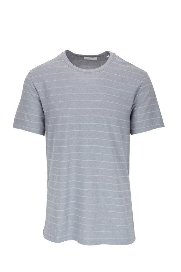 BLDWN The Bray Light Blue Slub Striped T-Shirt