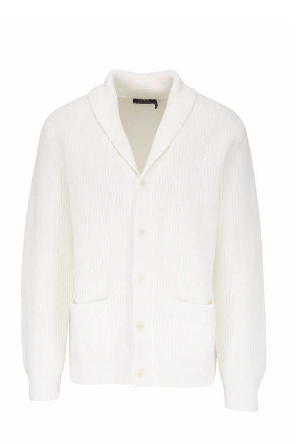 Polo Ralph Lauren White Cotton Shawl Collar Knit Cardigan