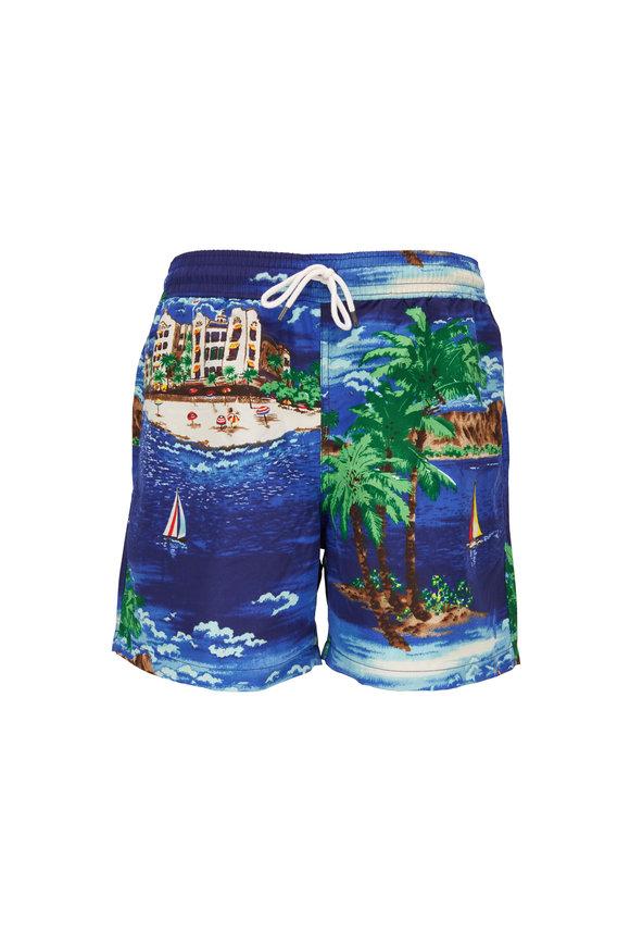 Polo Ralph Lauren Navy Blue Oceanside Print Swim Trunks