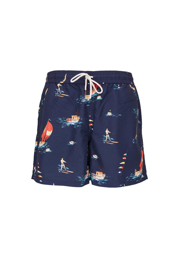 Polo Ralph Lauren Navy Blue Travel Print Swim Trunks