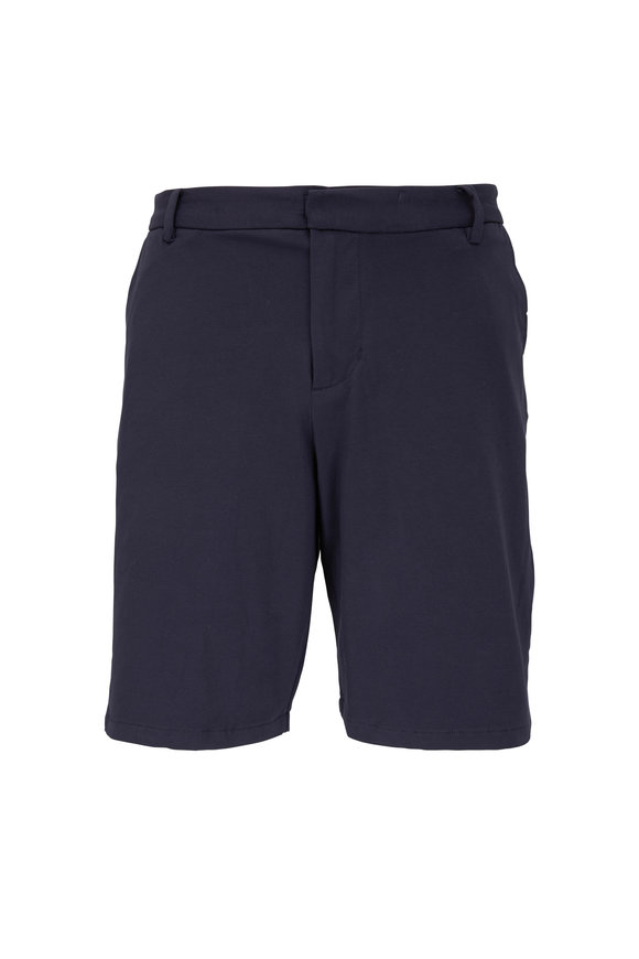 Swet Tailor Navy Blue Cotton Knit Everyday Shorts