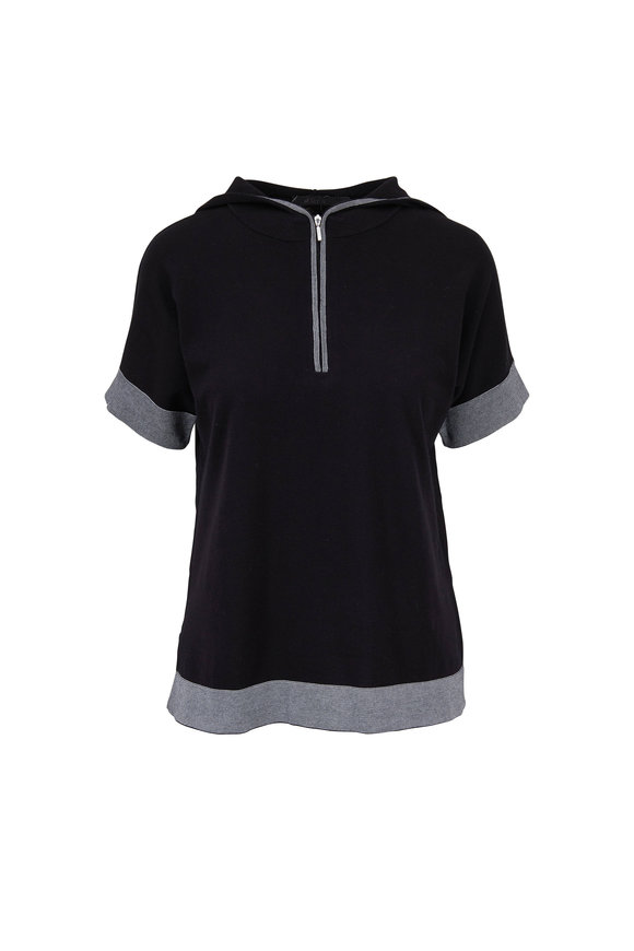 Raffi  Black Cotton Short Sleeve Quarter-Zip Hoodie