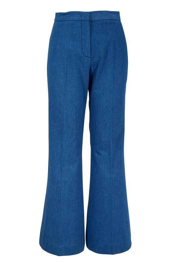 Derek Lam Light Indigo Cotton Flare Leg Pant