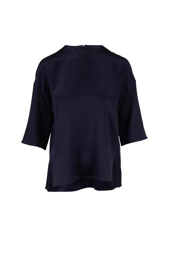 Vince Coastal Blue Satin Elbow Sleeve Blouse