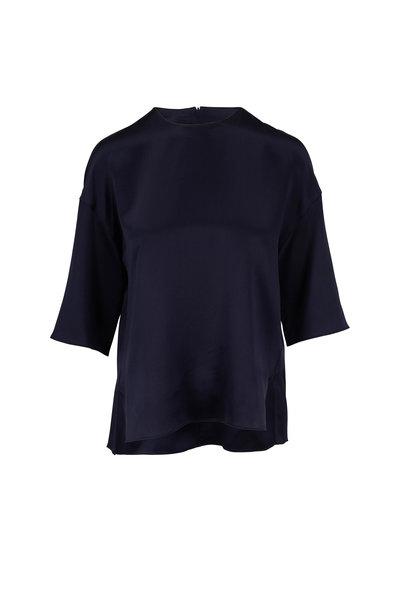 Vince - Coastal Blue Satin Elbow Sleeve Blouse